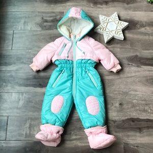 VINTAGE baby Snow suit - Sz 12mo - Detachable slipper booties